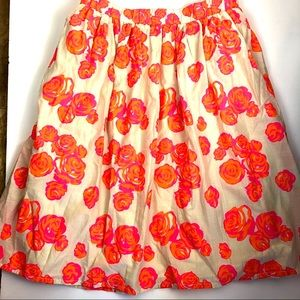 LANE BRYANT Orange Floral Skirt Plus Size 26/28